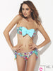 geo flowers bow bikini set (green)