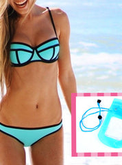 StellarChic Neoprene Bikini Swimsuit with FREE Waterproof iPhone Case
