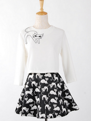 secret cat top and skirt set