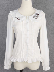 alice in wonderland embroidery ruffled blouse