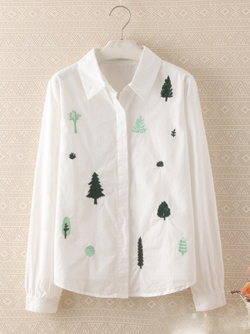 trail of tree embroidered shirt