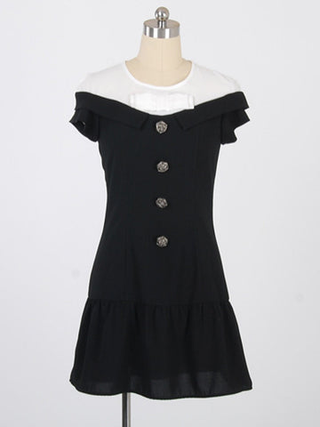 rose button bow dress