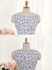 vintage floral print denim dress