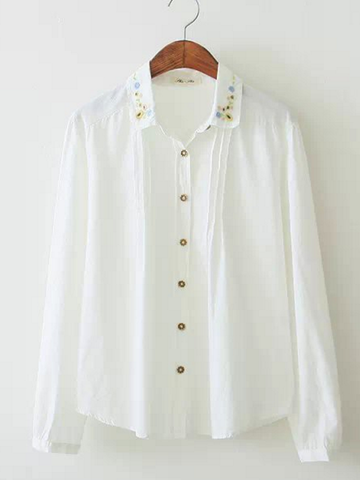 floral embroidery pleated shirt