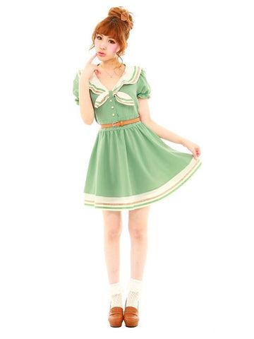 sailor dress in sage