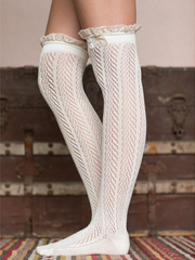 lace patterned knee socks