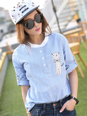 striped stand collar long shirt