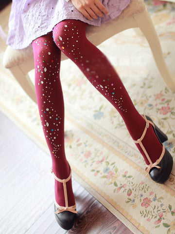 Spring collection - rhinestone studded winter tights in wine red