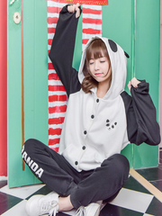 panda hoodie top and bottom set