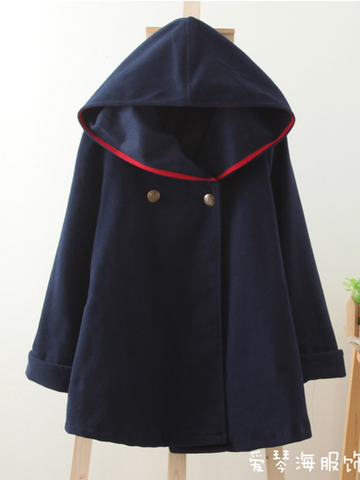 copper buttons wool cape