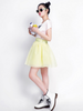 button chiffon puff skirt