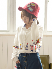 cartoon contrast collar buttoned shirt