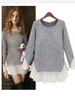 lace patch knitted top