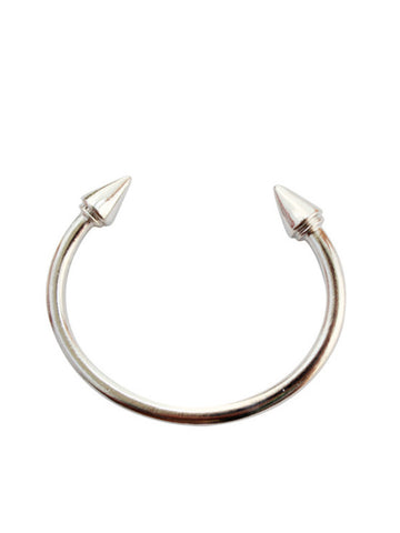 punk style two-headed spikes open bangle