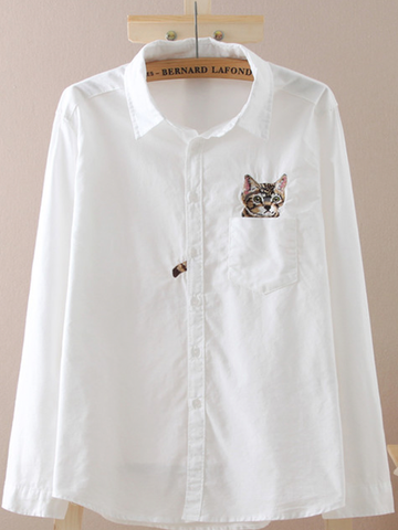 cat embroidery button up shirt