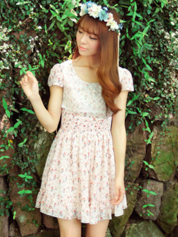 garden floral chiffon dress