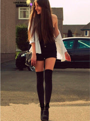 mock thigh high tights