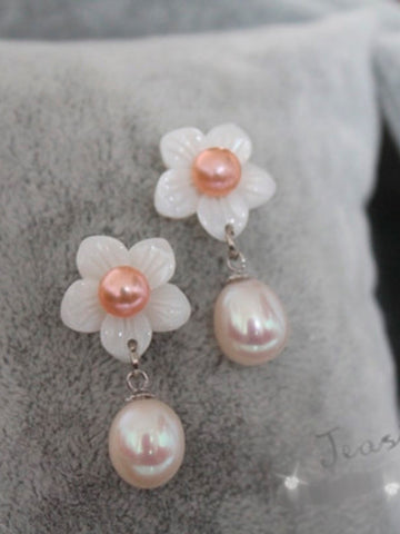 spring flower stud pearl earrings