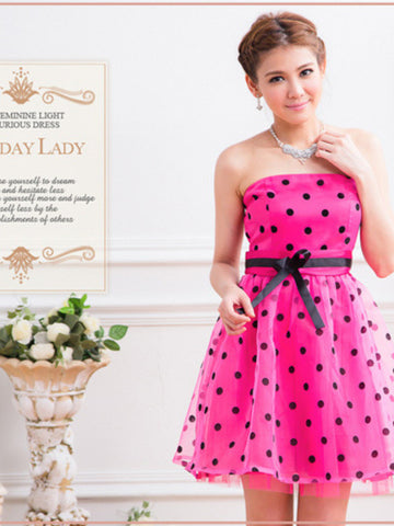 bridesmaid polka dots tube dress