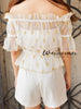 golden star sheer top and romper set
