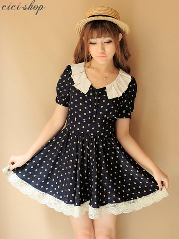 vintage collared polka dot dress