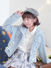 navy collar bow ties denim jacket