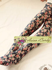 English rose floral tights