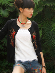mirror embroidery knit cardigan