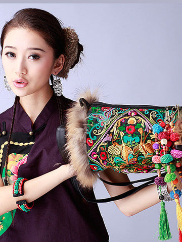 raccoon fur trim embroidered duffle bag