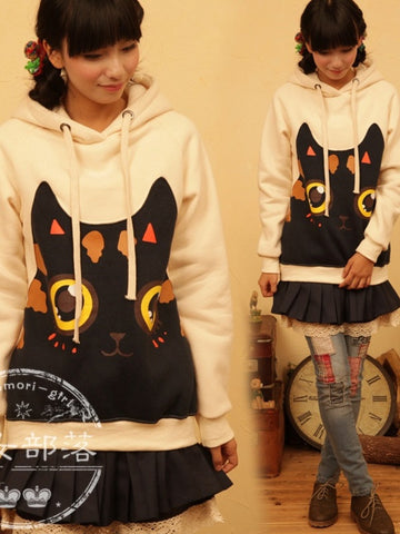 cat cartoon face hoodie