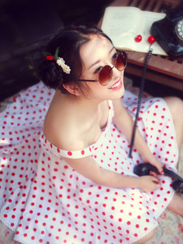 wild heart polka dot retro top/skirt