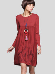 loose sweater embroidered dress