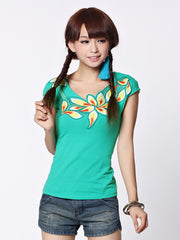 waterlily embroidery tee