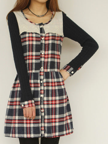 knitted long sleeve plaid dress