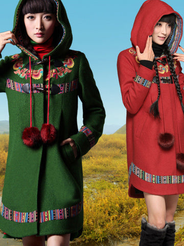 hand-stitching embroidery toggle coat