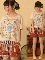 tribal tassel short sleeve top