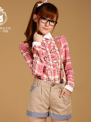 plaid flounce contrast shirt