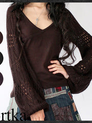 Sahara v-neck lantern sleeve knitted sweater