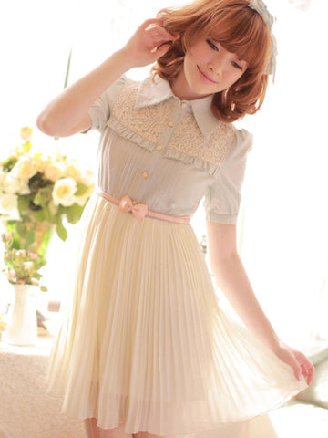 the first spring pleated chiffon dress