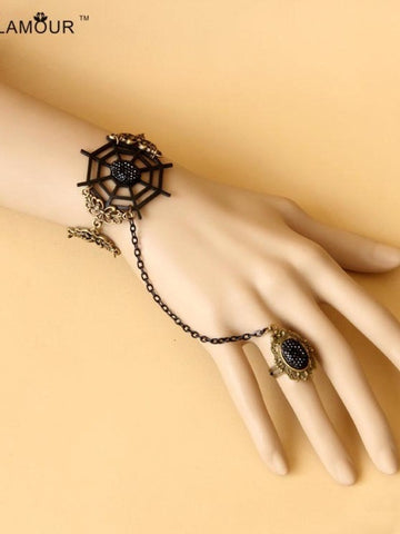 spider web black lace Gothic bracelet with ring