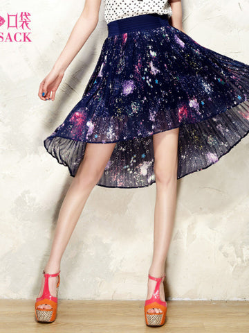Clearance - starry sky pattern asymmetric pleated skirt
