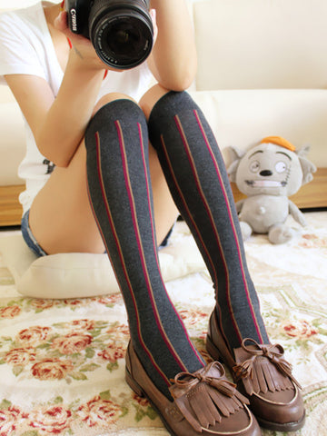 vertical stripes long socks