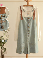 retro buttons denim overall