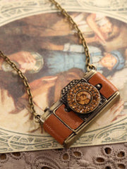leather camera pedant necklace