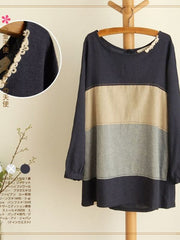 grey color block linen pullover
