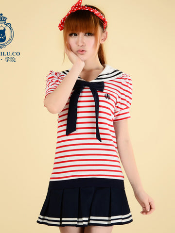 sailor collar striped t shirt