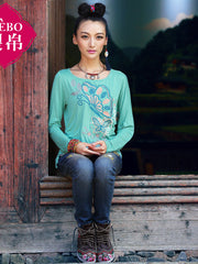 butterfly embroidery rippled t-shirt