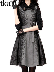 lace embroidery sleeveless tweed dress coat