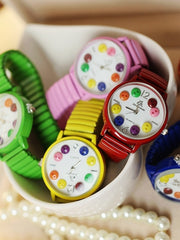 Korean color button watch