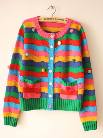 rainbow color stripe knit Cardigan
